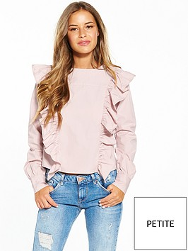 lost-ink-petite-frill-front-blouse-pink