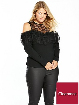 lost-ink-plus-cold-shoulder-lace-top