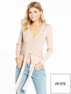 lost-ink-petite-twill-ballet-wrap-knit-top-blush