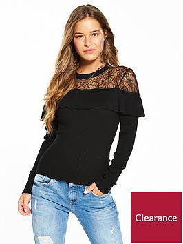 lost-ink-petite-lace-trim-ruffle-jumper-black
