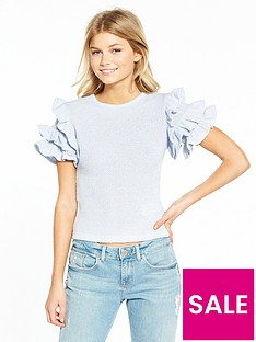 lost-ink-petite-textured-ruffle-topnbsp--blue