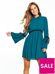 lost-ink-petite-georgette-lace-trim-fit-and-flare-dress-blue