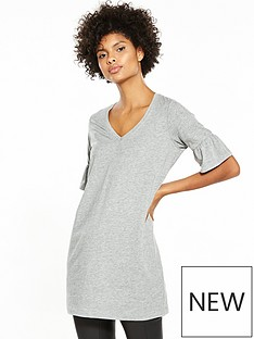 v-by-very-bell-sleeve-tunic-grey-marl