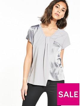 lost-ink-pleat-detail-satin-mix-t-shirt-grey