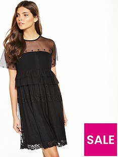 lost-ink-star-mesh-swing-dress-with-shirred-bust-black