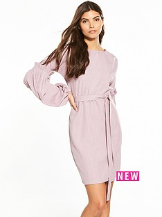 lost-ink-woven-tie-waist-bodycon-dress-pink