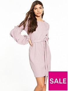 lost-ink-woven-tie-waist-bodycon-dress-pink