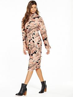 lost-ink-high-neck-print-column-dress