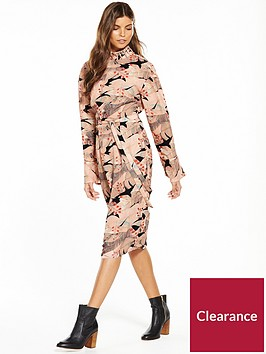 lost-ink-high-neck-print-column-dress