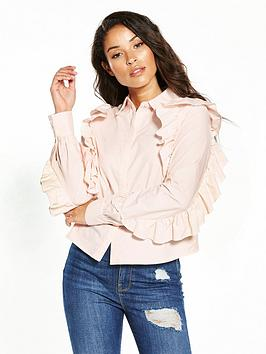 Lost Ink Frill Sleeve Shirt - Pink