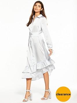 lost-ink-corset-waist-frill-hem-shirt-dress-light-grey