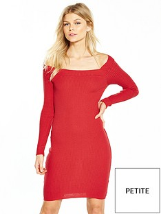lost-ink-lost-ink-petite-off-the-shoulder-rib-dress