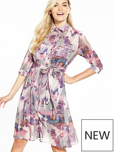 lost-ink-printed-split-hem-shirt-dress-pink