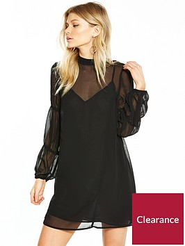lost-ink-lost-ink-petite-high-neck-gathered-sleeve-swing-dress