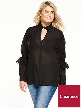 lost-ink-plus-lost-ink-curve-smock-top-with-shirred-sleeve