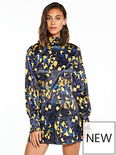 lost-ink-printed-satin-high-neck-playsuit-blue