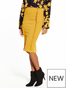 lost-ink-frill-detail-pencil-skirt-mustard