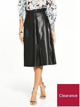 lost-ink-frill-waist-pu-a-line-skirt-black
