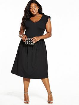 Lost Ink Curve Ribbed Skater Dress With Frill Sleeve