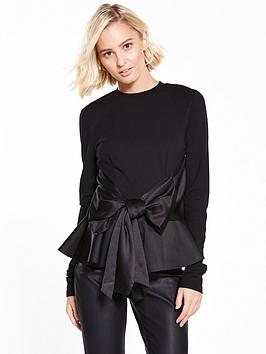 lost-ink-bow-peplum-top