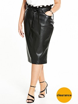 lost-ink-curve-pencil-skirt-in-pu-with-paperbag-waist-black