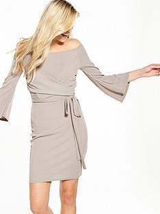 lost-ink-cross-front-bardot-bodycon-dress-grey