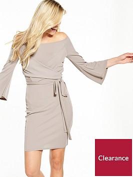 lost-ink-cross-front-bardot-bodycon-dress-grey