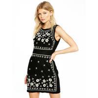 Petite Embellished Velvet Shift Dress   Black by V By Very Petite