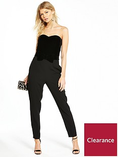489ac1a066 V by Very Petite VELVET BOW DETAIL JUMPSUIT