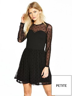 v-by-very-petite-spot-mesh-ponte-skater-dress