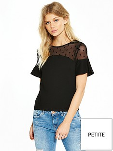 v-by-very-petite-spot-mesh-ponte-top