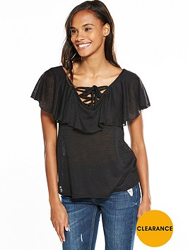 v-by-very-frill-tie-up-front-top-black