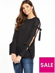 v-by-very-bow-sleeve-snit-top