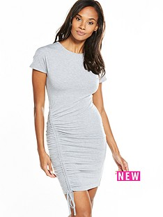 v-by-very-ruched-detail-side-dress-grey-marl