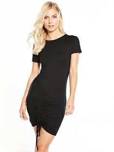 v-by-very-ruched-detail-side-dress-black