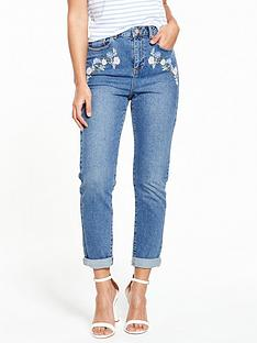 miss-selfridge-embroidered-mom-jean
