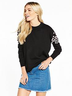 v-by-very-flower-embellished-sleeve-tunic-jumper