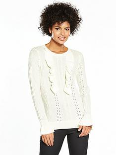 v-by-very-frill-detail-mixed-stitch-jumper-cream