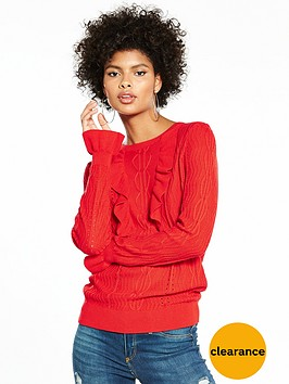 v-by-very-frill-detail-mixed-stitch-jumper