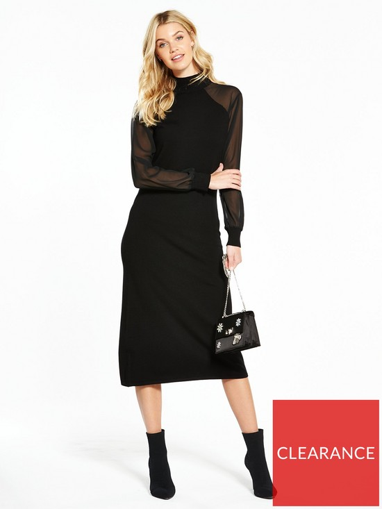 f89fdf34d47a V by Very Sheer Sleeve Knitted Midi Dress