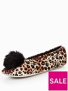 totes-isotoner-totes-isotoner-pillowstep-velour-pom-pom-ballet-slippers
