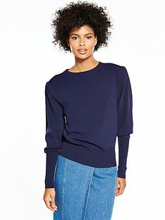 v-by-very-extreme-blouson-sleeve-jumper-navy