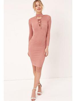 Girls On Film Lace Up Midi Dress - Dusty Pink
