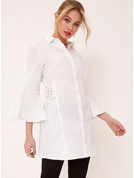Girls On Film Flare Sleeve Shirt Dress - White
