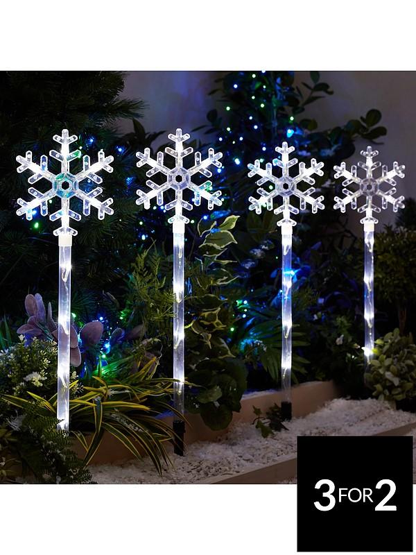 Outdoor Christmas Lights.Snowflake Pathfinder Outdoor Christmas Lights 4 Pack
