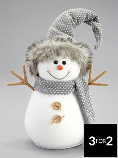 30cmnbspgrey-plush-snowman-christmas-decoration