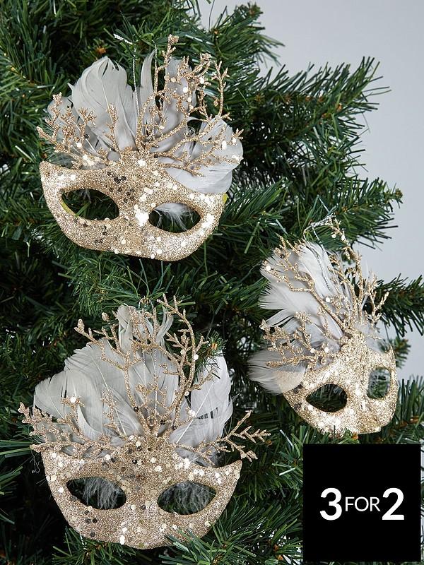 Hanging Christmas Decorations.Set Of 3 Masquerade Hanging Christmas Tree Decorations