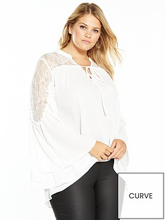 v-by-very-curve-lace-yoke-fluted-sleeve-blouse
