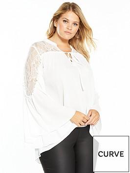 v-by-very-curve-lace-yoke-fluted-sleeve-blouse