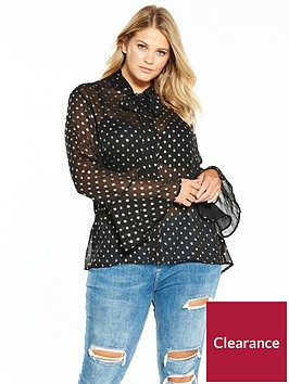 v-by-very-curve-metallic-spot-pussybow-blouse